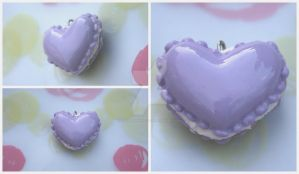 Purple Heart Macaroon Charm by RuusuMorningstar