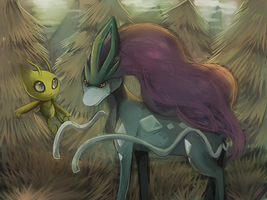 Celebi and Suicune by Cherkivi