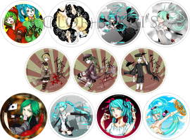 [Selling@EOY Singapore] 11 Vocaloid Badges by color-sekai