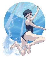 Manga Girl Swimming by SANTI-IKARI