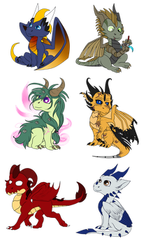 Chibi dragon set by Anais-thunder-pen