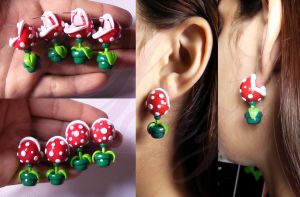 Piranha Plant Earrings by LayzeMichelle