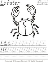 Mommysbiz | L-Lobster-Red Preschool Worksheet by DanaHaynes