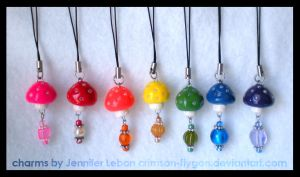 Rainbow Series Mushroom Charms by pookat