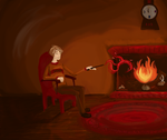 remus at a fire by shelbith