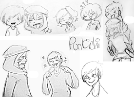 Traditional Pewdie doodles by Punkichi