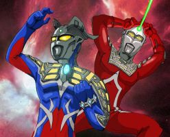 Ultraman Zero and Ultraseven by Onore-Otaku