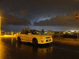 Impreza in lightening storm by ryn004