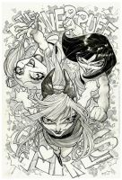 The Powerpuff Girls_inks_watercolor greytones by rogercruz