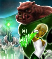 Kilowog and Arisia by Kevinusprime