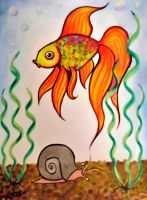 Goldfish and snail by Dracornasus