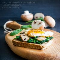toast with spinach, mushrooms and egg by Pokakulka
