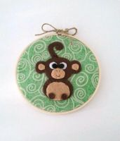 Mischievous Monkey Embroidery Hoop by msmegas