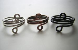 Wire Wrapped Rings (Silver, Bronze, and Black) by RachaelsWireGarden