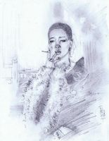 Woman and a Smoke by Fusciart