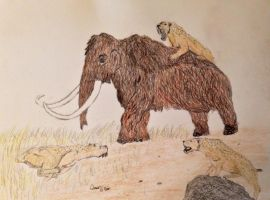 Prehistoric animals :Mammoth hunt,smilodon edition by OG7