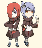 Nagato and Konan (Chibi) by SenninArtistModo