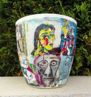 Flower pot Pablo Picasso motif by naraosart