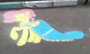 Fluttershy in a dress (chalk) by krlmisha