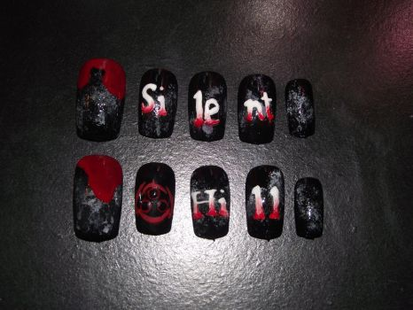 Silent Hill nails by Momousui