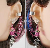 Pink and Silver Flower Cartilage Chain Earrings by merigreenleaf