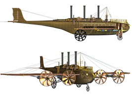 Steampunk Flying Machine 01 PNG Stock by Roys-Art