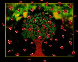Cosmic Tree of Hearts at Night by rabbitica