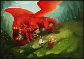 Feeding the Dragon Christmas Card by Art-Calavera