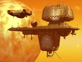 Chris Foss-looking Space Station by Paul-Lloyd