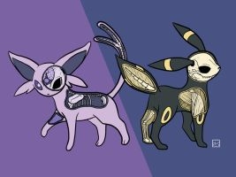 Espeon and Umbreon Anatomy by OhRogan