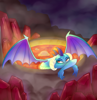 Ember in a lava bath by Draguel