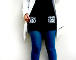 White coat blue tights. by mysensibleusername