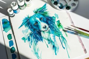 Blue Dog: Watercolor Commission by Loonaris
