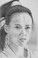 Pencil portrait of Zhang Ziyi as Moon by LateStarter63