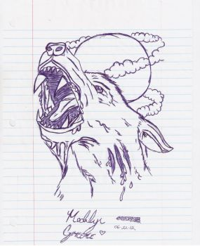 howling wolf by MadilynGreene