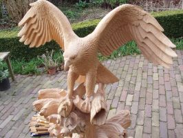 Woodcarver Eagle with salmon in progress 17 by woodcarve