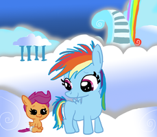 Filly Rainbow Dash Meets Baby Scootaloo by PhillipthePuma