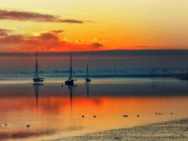 Three boats and Sunset by SottoPK