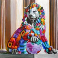 Fierce lion... yarn bombed by veracauwenberghs