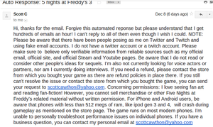 Well I emailed him and.. disapointed by Moracalle