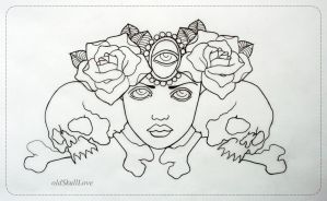 tattoo design OUTLINE by oldSkullLovebyMW