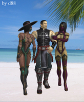 Kung Lao, Jade and Mileena by dim1988