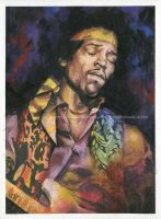 Jimi Hendrix - Watercolor and ink - Portrait by NateMichaels