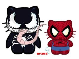 Venom n Spidey Kittens by rancid1881