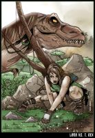 Lara vs T.Rex by CitizenWolfie