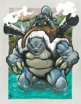Blastoise and Squirtle by MikimusPrime