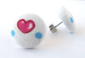 White stud earrings pink heart valentine's day by KooKooCraft