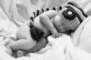 Stocking Hat Sweetie Infant Portrait BW (2) by BeanSprout-Photog