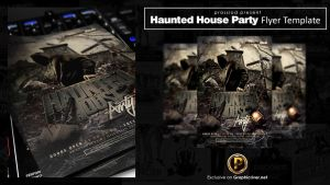 Haunted House Party Flyer Template by prassetyo