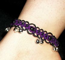 Purple Black Lace Bell Anklet by Psy-Sub